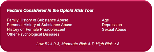factors considered in the opioid risk tool